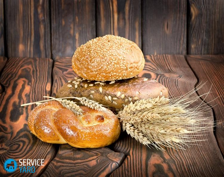Bakery products on a wooden brown background