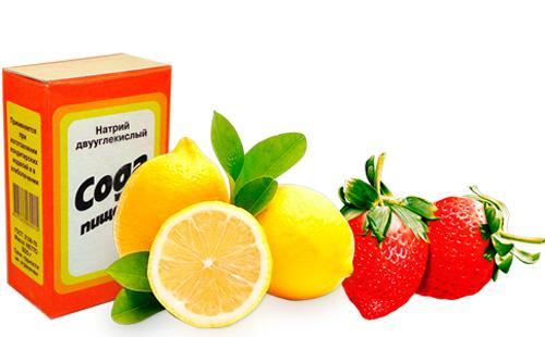 Пищевая сода, лимон и клубника