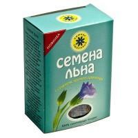 Семена льна в голубой коробке