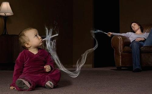 Пассивное курение маленького ребенка
